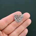 6 Heart Connector Charms Antique Silver Tone Flower Abstract Design - SC1101