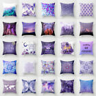 18'' Cotton Linen Purple Pillow Case Sofa Waist Throw Cushion Cover Home Decor