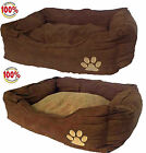 Dog Beds Cat Pet Bed Small Medium Large Extra Large Brown Faux Suede & Sheepskin