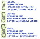 316 stainless steel swivel carabiner snap clip. 3 sizes. AS-03