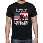 I Stand for the Flag I Kneel for the Cross USA New Tee  t'shirt Black
