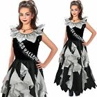 Girls Zombie Prom Queen Costume Horror Halloween Fancy Dress Outfit