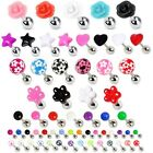 Cartilage Upper Ear Stud - Tragus Helix Bar Top Ear Ring - Rose Heart Earring
