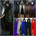 Hooded Velvet Cloak Cape Halloween Costume Medieval Pagan Witch Wicca Vampire AA