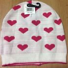 NEW - KNITTED GIRL WHITE WITH PINK LOVE HEARTS BEANIE WINTER HAT ONE SIZE WARM