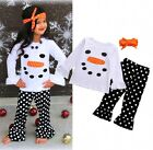 Kids Girls Clothes Snowman Tops Headband Ruffle Dot Pant 3Pcs Outfits Set Mon