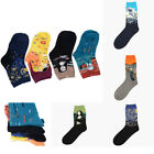 1 Pairs Men Women Socks Cotton One Size Famous Painting Art Printed Funny Casual