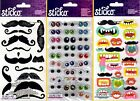 U CHOOSE Sticko Stickers GOOGLY EYES - FUNNY MOUTHS & MOUSTACHES Halloween