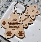 PERSONALISED MOTHERS DAY BIRTHDAY GIFT FLOWER KEYRING MUM NANNY MUMMY CHRISTMAS