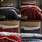 CL Tartan Check Plaid Reversible Duvet Cover Bedding Set - Navy or Red