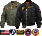 Military Air Force Style MA-1 Flight Jacket with Removable Insignia Patches