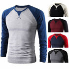 Fashion Mens Casual Long Sleeve Shirts Slim Fit T-shirt Muscle Cotton Tee Tops