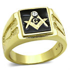 Stainless Steel Men's 14k Gold I.P. Crystal Masonic Lodge Freemason Ring Sz 8-13