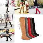 Womens Ladies Over The Knee Thigh High Boots Winter Lace Up Flat Shoes Boots US
