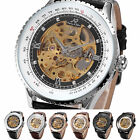 Men's Black Dial KS Stainless Steel Skeleton Leather Mechanical Wrist Watch Gift