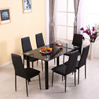 Wooden/Glass Dining Table and 4 Or 6 Faux Leather Chairs Set Kitchen Furniture <br/> *MODERN DESIGN*UK STOCK*FAST &amp; FREE*Walnut / Oak effect