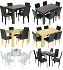 Wooden/Glass Dining Table and 4 Or 6 Faux Leather Chairs Set Kitchen Furniture