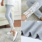 Women's High Waist Cotton Leggings Lace Skinny Stretch Pencil Pants Trousers US