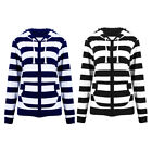 Women Casual Hooded Hoodie Sweats Sports Striped Slim Zipper Lady Jacket Coat