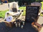 White & Grey Rustic Theme Wedding Decorations. Chalkboards, lanterns, frames ect