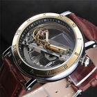 Mens Classic Luxury Leather Band Dial Automatic Mechanical Skeleton Wrist Watch image