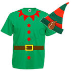 MENS ADULTS ELF SANTAS HELPER T SHIRT TOP & HAT PIXIE CHRISTMAS XMAS FANCY DRESS