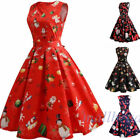 New Women Girls Santa Christmas Dress Sleeveless Xmas Swing Red Retro 50s Dress