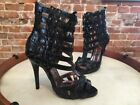 Chi Falchi Black Caged Gladiator High Heel Sandals New