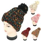 LADIES NEW MULTICOLOURED KNITTED WOOLLY POM POM WINTER BOBBLE BEANIE HAT