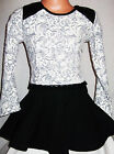 GIRLS BLACK LIGHT GREY FLORAL QUILTED LEATHERETTE TRIM SKATER PARTY DRESS