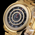 Unique Men's Gold Stainless Steel Movable Dial Analog Quartz Sports Wrist Watch