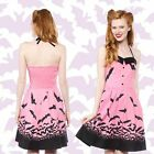 BAT PINK DRESS GOTH hot topic lip service modcloth metal HOLIDAY bettie page