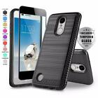 MODERN ARMOR HYBRID COVER PHONE CASE FOR [LG REBEL 2 LTE] +BLACK TEMPERED GLASS