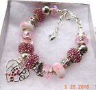 BREAST CANCER AWARENESS Crystal European Charm Bracelet     FREE SHIPPING!!!
