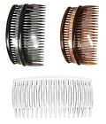 Set of 2 Large Hair Combs Slides Grips 12cm - Choice of Black Tort or Clear