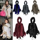 New Celebrity Hooded Faux Fur Trim Ladies Winter Cape Wrap Poncho