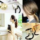 Metal Circle Hair Cuff PonyTail Elastic Rope Band Hair Tie Holder Ring JR