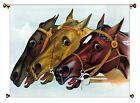 Neck to Neck Horse Race Picture on Canvas Hung on Copper Rod, Ready to Hang, Wal