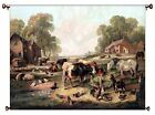 Farm Animals Picture on Canvas Hung on Copper Rod, Ready to Hang, Wall Art Décor