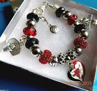 NBA CHICAGO BULLS Crystal European Team Charm Bracelet      FREE SHIPPING!!!