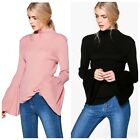 C53 Black & Pink Ribbed Ruffle Flared Bell Sleeve Turtleneck Sweater