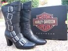 NEW Ladies Harley Davidson Leslie Black Leather Motorcycle Fashion Boots D83725