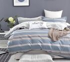 100% Cotton Reversible Queen King Bed Quilt Cover Set Soft Duvet Cover Fred Blue