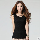 Sex Womens Ladies Casual Cotton Lace Double Sleeveless Vest Falbala Tops