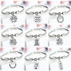 Memory Pet Cute Cat Dog Paw Tags Charm Bracelet Silver Bangle Jewelry Xmas Gifts