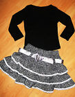 GIRLS TOP & BLACK WHITE GLITTERY TRIBAL PRINT BOW LACE TRIM RUFFLE PARTY SKIRT