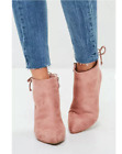 MISSGUIDED IDEAL SHOES LADIES Pink Minimal Tie Back Pointed Boots (M36)