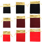 25X Exquisite Velvet Small Drawstring Pouches Wedding Gift Bags Black and Gold