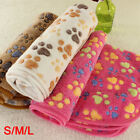 Warm Pet Mat Small Large Paw Print Cat Dog Puppy Fleece Soft Blanket Cushion UK
