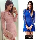 The New Women's Lace Floral Pattern Long Sleeve Party  Evening Mini Short Dress